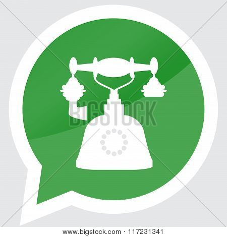 Retro Telephone Icon Sticker Design Flat Symbol