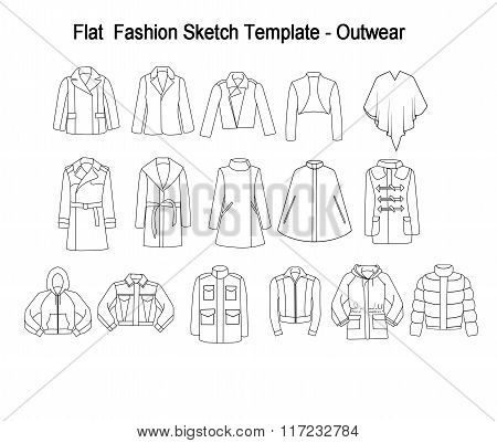 Collection Set of techincal and Industrial Flat fashion template - Library of coats and outwear