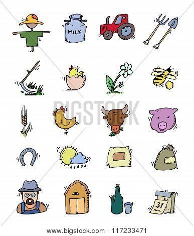 Colored Hand drawn Farm icon set