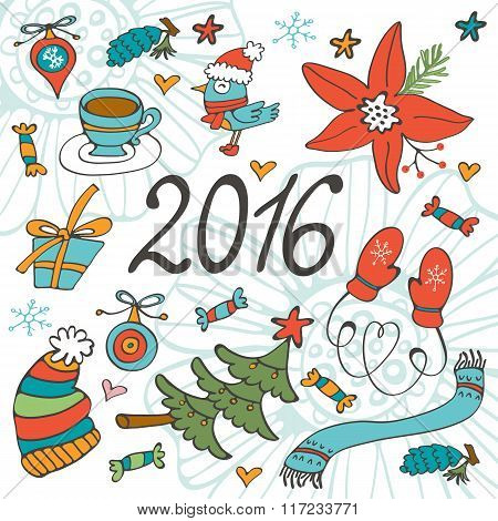 Colorful 2016 card with winter graphics