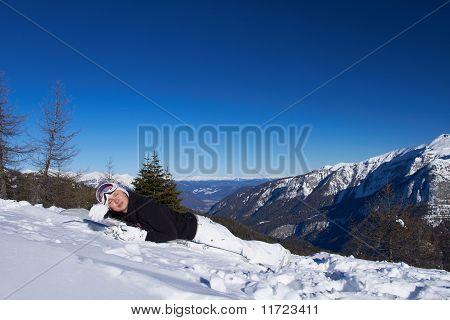 Female Snowboarder In Dolomites