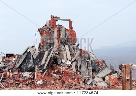 Completely Ruined Brick Building