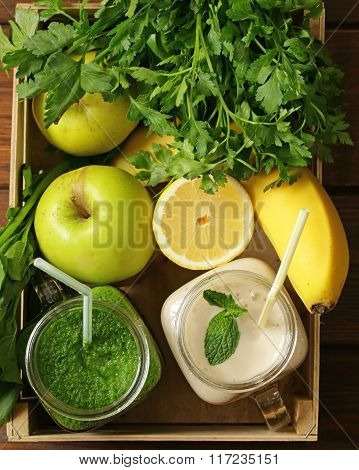 beverage with spinach, celery, pumpkin seeds and banana smoothie, detox and healthy food