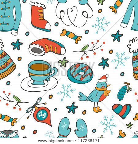 Colorful seamless pattern with winter related hand drawn elements