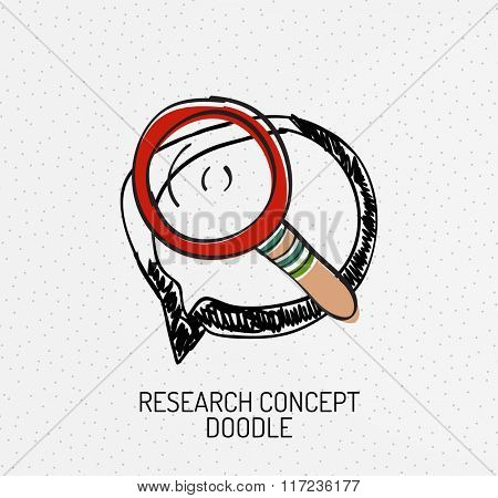 Vector multicolored hand-drawn doodles, icon, stamp. Magnifying glass concept