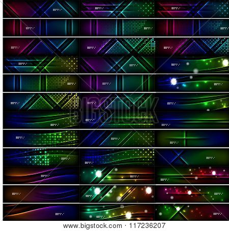 Glowing shapes on dark background. Vector set of black headers with light effects