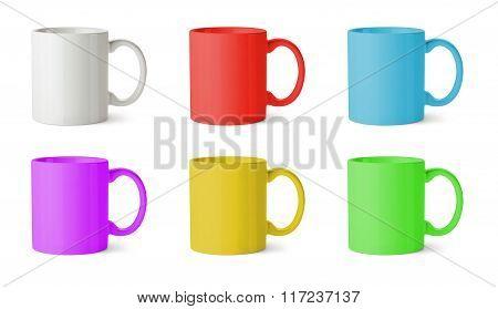Six Mugs Of Various Colors
