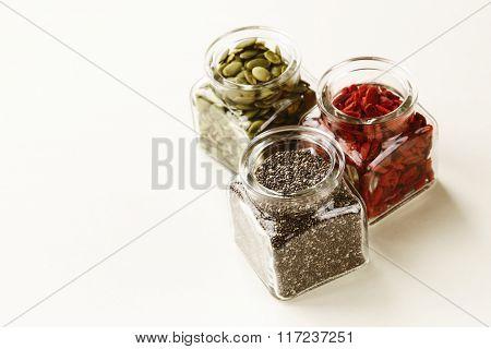 Super food - goji berries, chia seeds and pumpkin seeds