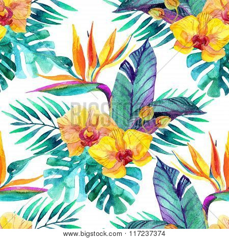 Tropical Leaves And Flowers. Floral Design Background.