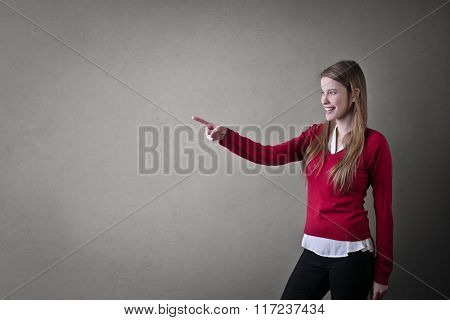 Pointing at something