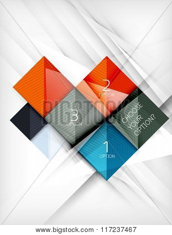 Square abstract background with option elements, paper design style glossy effects and shadows