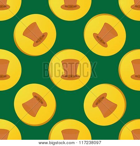 Seamless Patrick Day Pattern With With Leprechaun Gold Coin