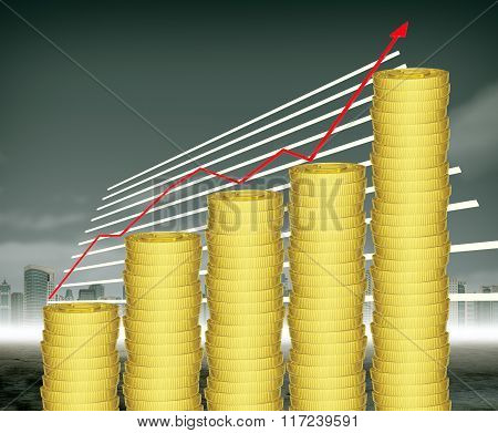 Stack of coins with graphical chart