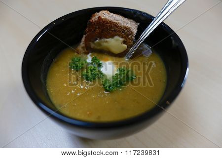 Home Made Vegetable Soup And Toast