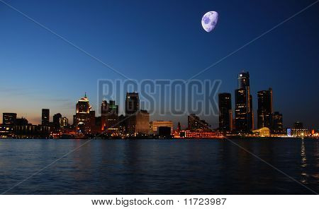 Night Skyline Detroit