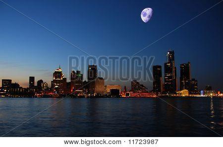 Night Skyline Detroit