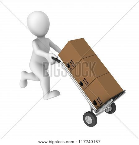 3D Worker With Cargo