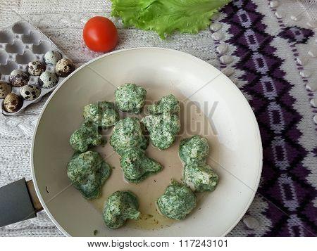 Cauliflower In Tempura, Fritters Cooking Vegetarian Food With Nettles