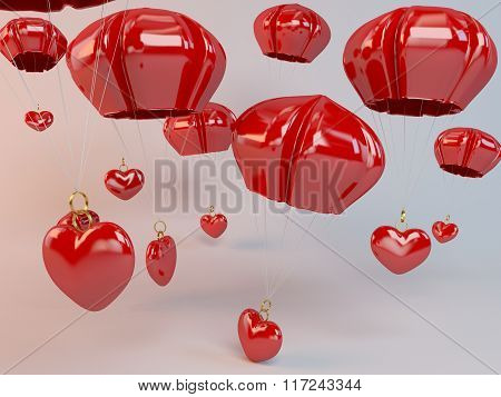 3d hearts and parachute falling from the sky