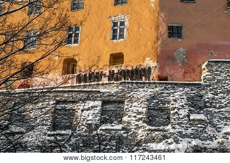 Image On The Walls Of The Old Town In Tallinn. Estonia.