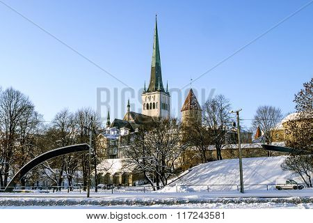 City Wall And Cathedral Of St. Olaf In Old Tallinn. Estonia