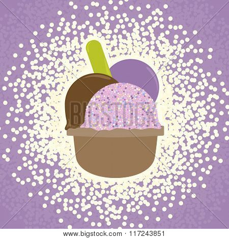 Ice Cream in the cup sign. Sweet symbol. Realisitc colorful illustration. Vector