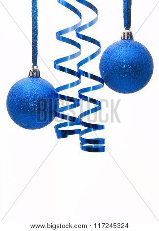 Two Shiny Blue Christmas Balls With A Ribbon