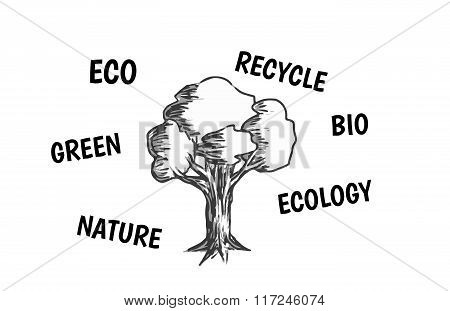 vector illustration of tree with eco friendly text Black lineart on white background