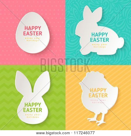 Easter Greeting Cards with Paper Cut Symbols