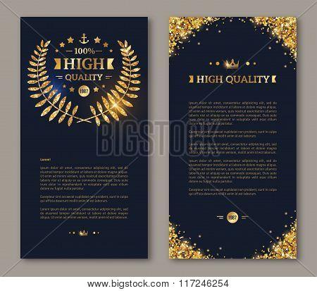Flyer design template with golden laurel wreath