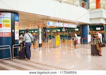 ROME, ITALY - AUGUST 16, 2015: Fiumicino Airport interior. Fiumicino - Leonardo da Vinci International Airport is a major international airport in Rome, Italy