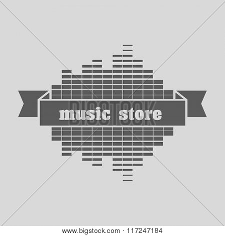 Music Store Logo Template Design Vector. Can Be Used For Design Posters, Flyers Or Cards