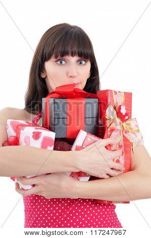 Embarrased Young Girl With Heaps Of Presents