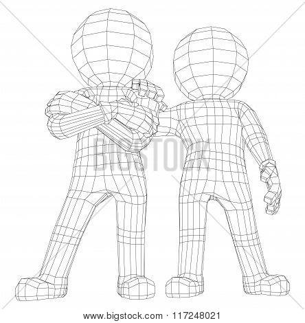 Puppet 3d men two friends