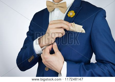 Man Blue Suit Bowtie, Brooch, Pocket Square
