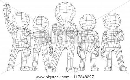 Puppet 3d men five friends