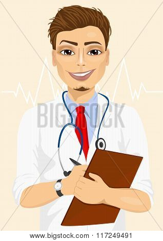 Portrait confident male doctor medical professional taking patient notes