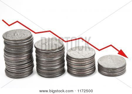 Down Arrow Over Stacks Of Coins