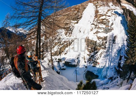 Lillaz icefall: ice climbing paradise. Concepts: extreme sport, vacation, adventure travel. European Alps, Cogne (Val d'Aosta) - Italy.