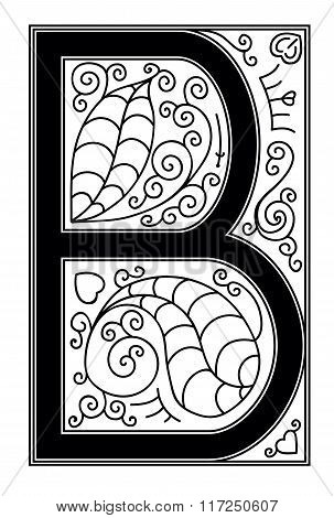 B letter with floral ornament