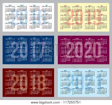 Vector Set Of Patterns With Calendars Of Different Years