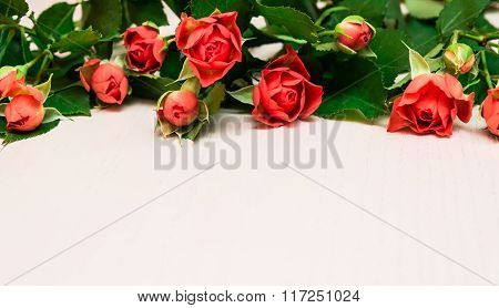 Red Roses On A Light Wooden Background. Women' S Day, Valentines Day, Mothers Day