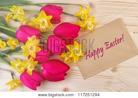 Cheerful Spring Flowers Easter Card