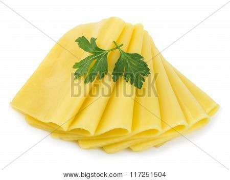Cheese Slices With Green Parsley On White Background.