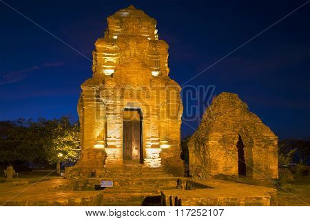 Ancient Cham sanctuary in night illumination. Vietnam