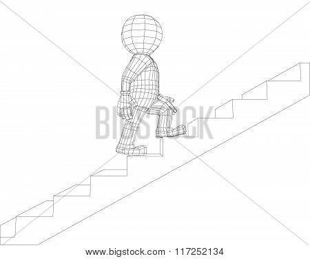 Puppet 3d man walking stairs