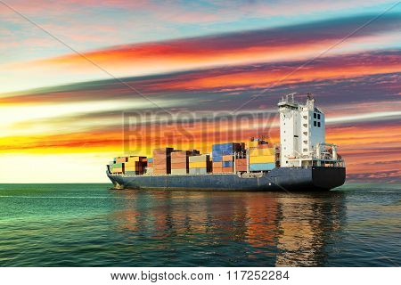 Container Ship On Sea