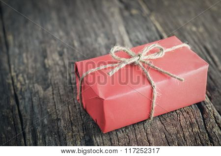 Red Box Gift With Brown Rope