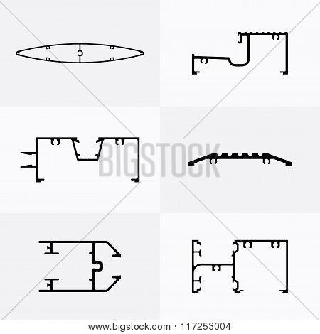 Aluminum profiles icons.