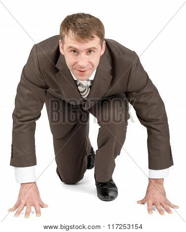 Businessman starting to race
